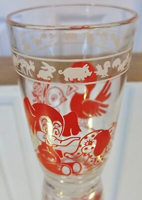"Vintage Kraft SWANKY SWIG-""KIDDIE CUP"" Series-RED-Elephants & Birds-C1956-3 3/4"""