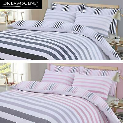 Dreamscene Fade Stripe Duvet Cover with Pillowcase Bedding Set - Grey Blush Pink