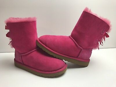6c4262c3901 UGG AUSTRALIA KIDS Youth Bailey Button Bow Boots Cerise Hot Pink Size 3 EUC