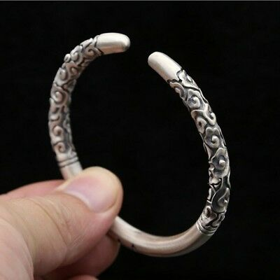 Vintage Monkey King Bar Bangles Real 925 Sterling Silver Bracelet Jewelry New