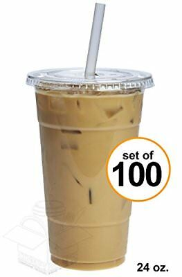 COMFY PACKAGE 100 Sets 24 oz. Plastic CRYSTAL CLEAR Cups with Flat Lids
