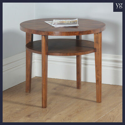 Art Deco French Figured Walnut Circular Centre Coffee Occasional Side Table