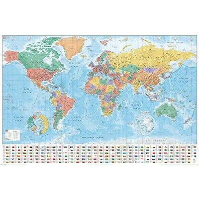 World Map (flags And Facts) 61cm x 91.5cm - Flags Facts Poster Wall Decor Home