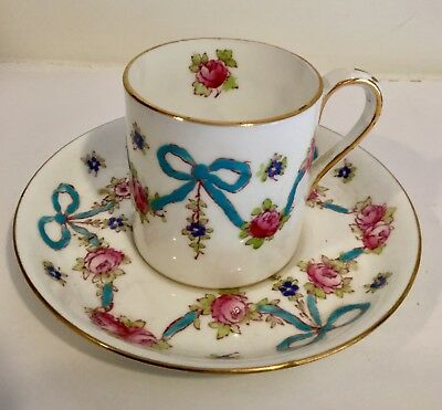 CROWN STAFFORDSHIRE DEMITASSE CUP Saucer  BLUE BOWS PINK ROSES GOLD TRIM F4547