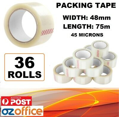 36 x Sticky Tape Packing Packaging Tape 75 Meter Rolls 48mm Width 45 Microns