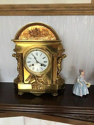 antique Brass mantel clock with french movement