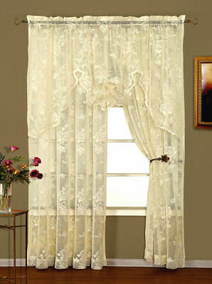 NEW Abbey Rose Ivory Floral Lace Curtain by Lorraine