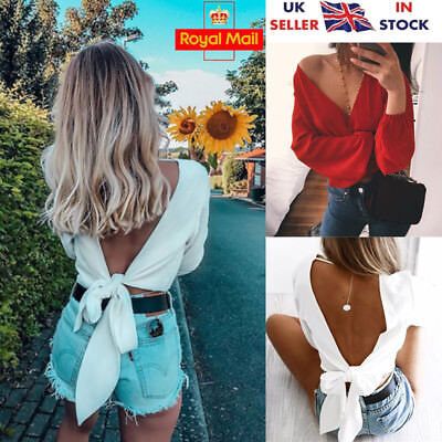 UK Sexy Women Long Sleeve V Neck Backless Bow T-Shirt Ladies Casual Tops Blouse