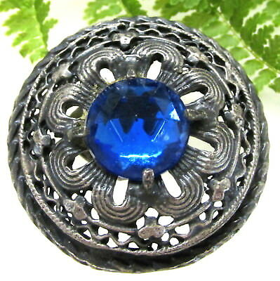 Beautiful Victorian Gay 90'S Jewel Button W/ Royal Blue Faceted Stone T78