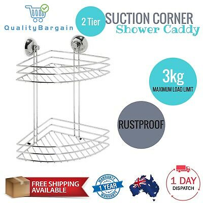 2 Tier Corner Caddy Suction Bathroom Shower Shelf Storage Rack Holder Chrome New