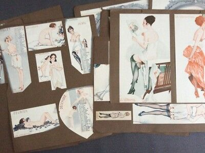 Antique 1910s Nude French Pinup Girls / Scrapbook Pages / Victorian Erotic