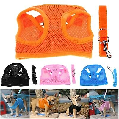 Pet Dog Solid Mesh Harness Vest Leash Puppy Outdoor Walking Traction Rope Straps