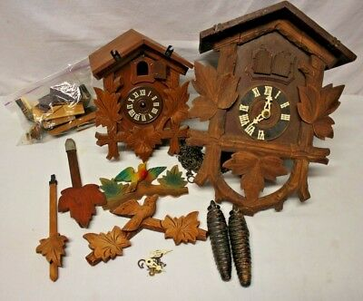 2 Antique Vintage Black Forest German Cuckoo Clock Parts or Restore GERMAN MADE
