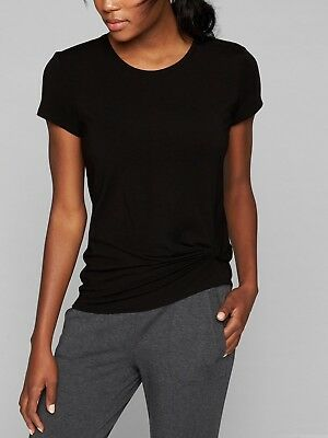 NWT Athleta Ultimate Side Knot Tee Black MEDIUM Semi-fitted Soft Tencel Stretch