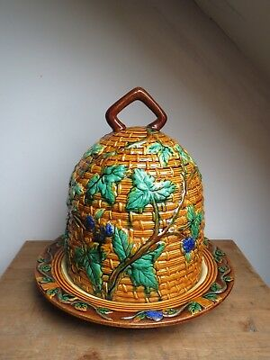 Minton style majolica huge beehive grapevine cheese cloche