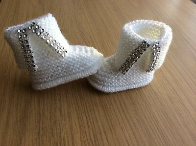 NEW Hand knitted Romany Bling baby Girl booties / Shoes -0-3 months- White