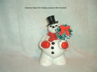 CHRISTMAS Brush WREATH ornament For Hand of A VINTAGE  ROYAL SNOWMAN or SANTA