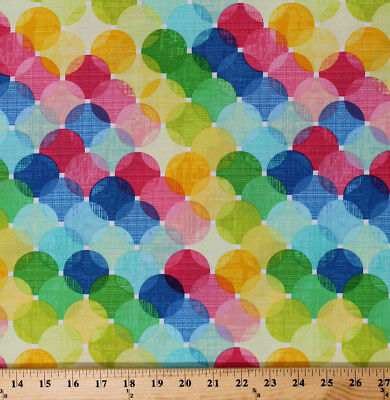 Colorful Circles Bubbles Large Layered Dots Cotton Fabric Print by Yard D380.18