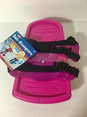 Ideal- Pink Sno-Stompers Fit Shoe Up To Size 5 - Dinosaur FootPrint Snow Tracks
