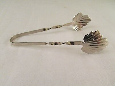 "Vintage RAIMOND Maple Leaf Sterling Silver 3 1/2"" Sugar Tongs NO Monogram"