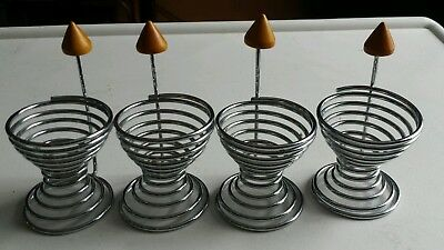 Stainless Steel Spring Wire Boiled Egg Cup Holder Stand Storage Kitchen set of 4