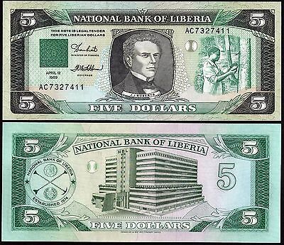 Liberia P19***5 Dollar***nd 1989***unc Gem***see Full Description