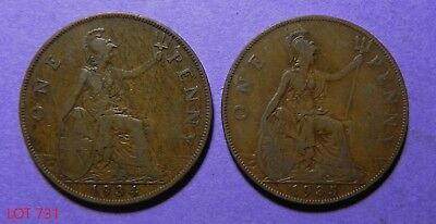 Lot Of 2 Great Britain Large One Penny Copper Coins!! 1934-1935