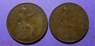 Lot Of 2 Great Britain Large One Penny Copper Coins!! 1920-1921