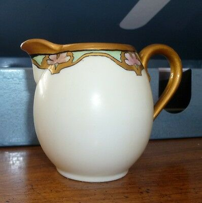 Antique Moritz Zdekauer (MZ) Austria Arts & Crafts creamer gold w black & signed