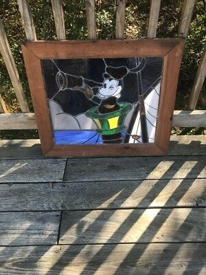 One Of A Kind Mickey Mouse Stained Glass Art Vintage Antique Disney