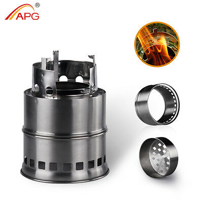 APG Ultralight Wood Gas BBQ Camping Stove Outdoor Hiking Cooking Firewood Burner