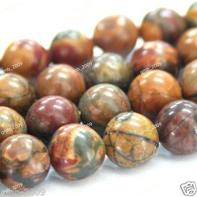 """12mm Natural Multicolor Picasso Jasper Round Gemstone Loose Beads Strand 15""""AAA"""