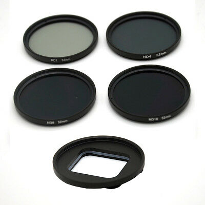5 in 1 52mm Screw free ND2/ND4/ND8/ND16 filter kit  for Gopro Hero 7 6 5 Black