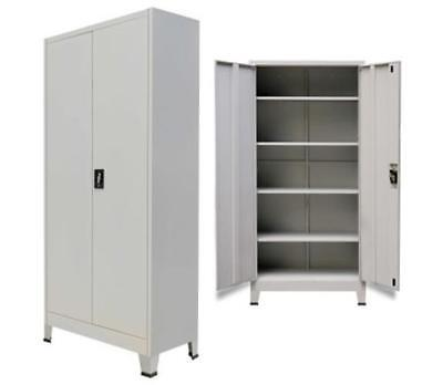 Metal Filing Cabinet Lockable Office Storage Unit 2 Door Steel Document Cupboard
