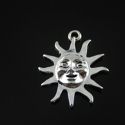 15PCS Antique Style Silver Alloy Sun Smile Face Pendant Charms Crafts 38979