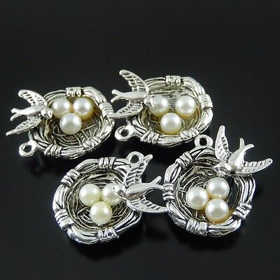 Vintage Silver Tone Alloy Bird Egg Nest Charms Pendants Findings Hot 37288 12pcs