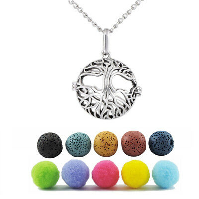 Silver Tree of Life Aromatherapy Diffuser Locket Necklace with 5pcs Lava Beads