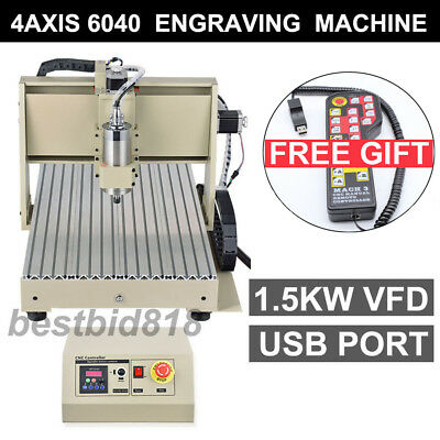 USB 4AXIS 6040 1500 VFD CNC ROUTER ENGRAVER ENGRAVING MILLING MACHINE+controller