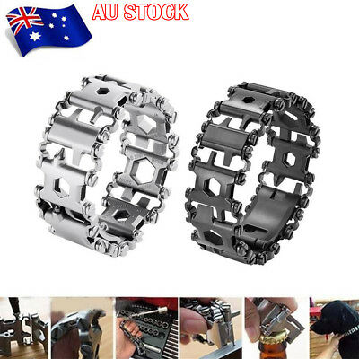 Multifunctional Wearable Survival Bracelet Multi-Tool 29 in 1 Stainless Steel AU