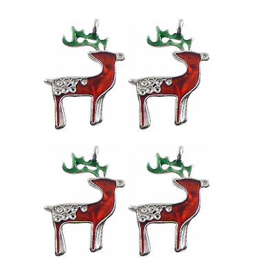 12pcs/lot Silver Alloy Colorful Enamel Lovely Xmas Reindeer Crafts Pendants