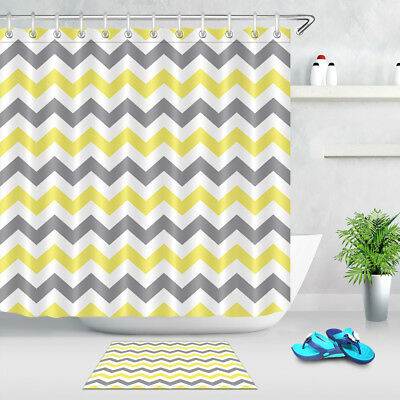 Yellow And Grey Chevron Pattern Shower Curtain Liner Bath Mat Waterproof Fabric