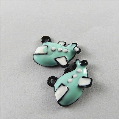 Lot 10pcs Colorful Enamel Alloy Cute Cartoon Plane Charms Pendant Jewelry Making