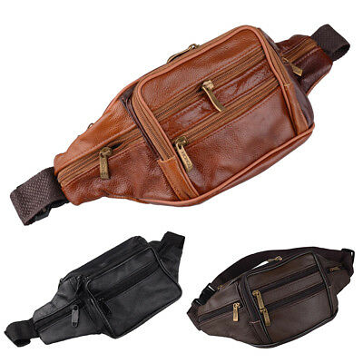 Unisex Soft Real Leather Bum Bag Fanny Pack Travel Waist Money Belt Pouch Wallet