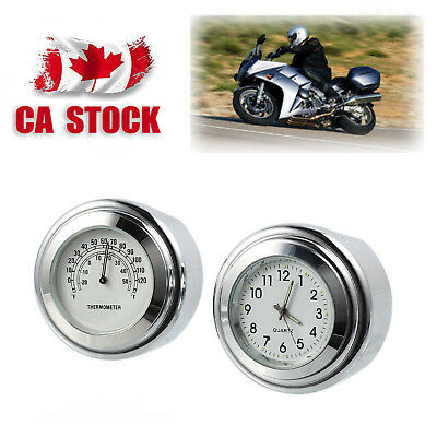 """7/8"""" 1"""" Motorcycle Watch Handlebar Mount White Dial Clock & Temp Thermometer CA"""