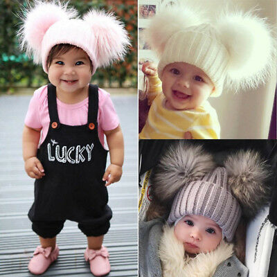 AU Baby Boys Girls 13cm Fur Double Pom Pom Hat Winter Knit Bobble Beanie Cap AS