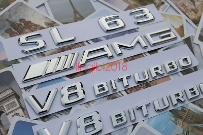 """SL 63+ AMG + V8 BITURBO"" Letters Trunk Embl Badge Sticker for Mercedes Benz"