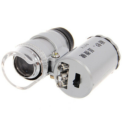 Mini 60X Microscope with 2-LED Illumination+UV Light Currency Detecting - Silver