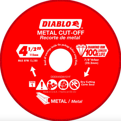Diablo 4.5 inch Diamond Wheel Metal Cutting Cut Off Tool Disc Angle Grinder Part