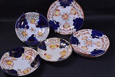 Gaudy Welsh 4 x Side Plates & 3x Saucers China c1900 Tulip Pattern Staffordshire