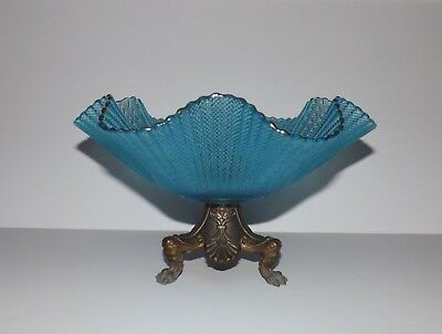 Art glass Bowl W/ brass Base Blue glass compote dish pedestal fruit bowl